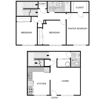 3 bed, 1.5 bath floor plan